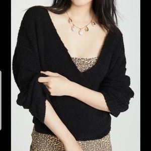 Free People black wrap knit v neck sweater